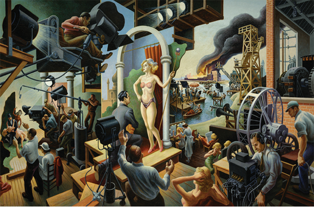 "Thomas Hart Benton, Hollywood, 1937–38, tempera and oil on canvas mounted on board, 56 × 84"". © Benton Testamentary Trusts/UMB Bank Trustee/Licensed by VAGA, New York, NY."