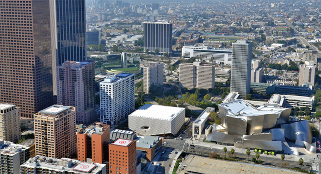 Aerial view of Diller Scofidio + Renfro's Broad (center), Los Angeles, 2015. Photo: Jeff Duran/Warren Air.