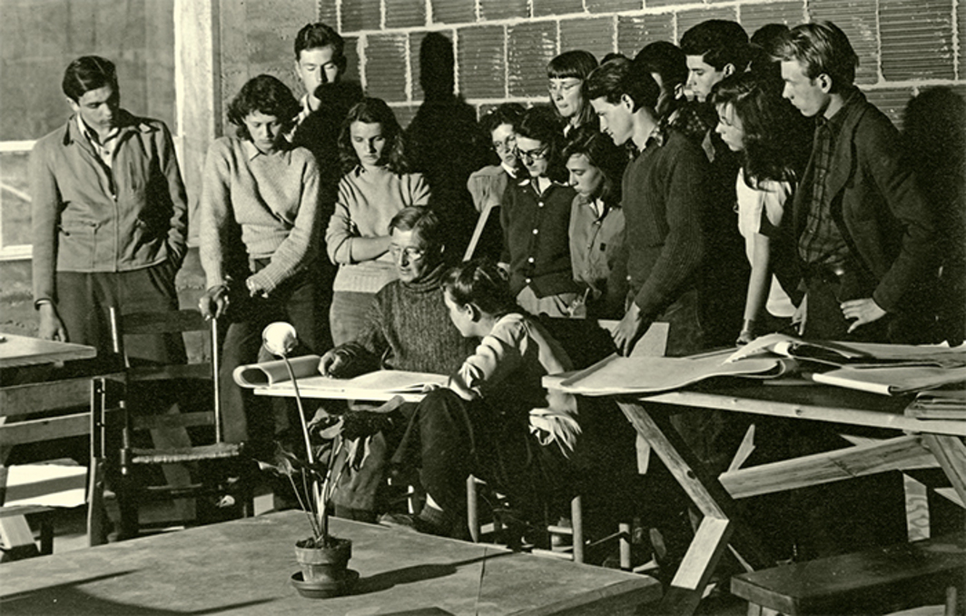 Josef Albers and his students at Black Mountain College, Black Mountain, NC, April 1942. Photo: Tom Leonard.