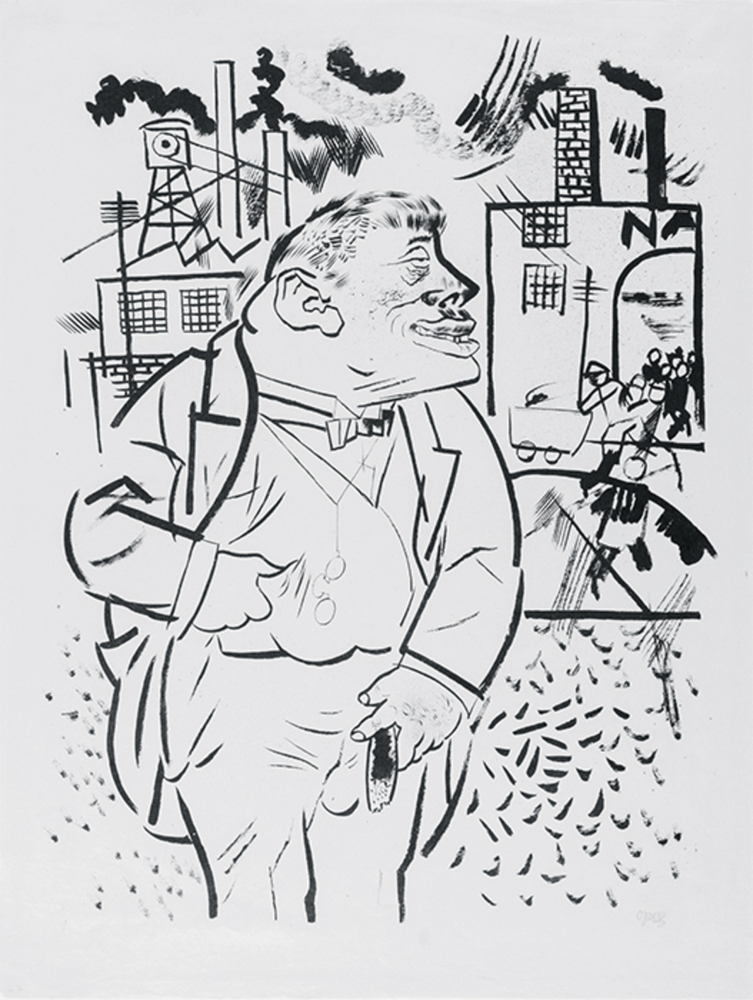 "George Grosz, Der Regisseur (The Boss), 1922, photolithograph on paper, 22 3/4 × 16 3/4"". © Estate of George Grosz/Licensed by VAGA, New York, NY."