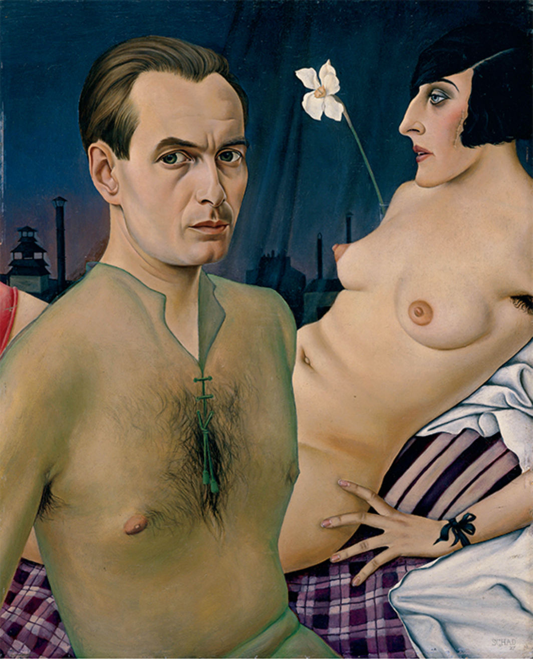 "Christian Schad, Selbstbildnis mit Modell (Self-Portrait with Model), 1927, oil on wood, 30 × 24 1/4"". © Christian Schad Stiftung Aschaffenburg/ Artists Rights Society (ARS), New York/VG Bild-Kunst, Bonn."