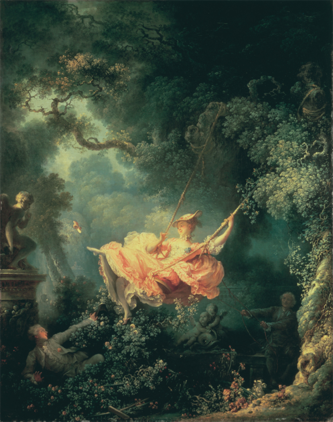 "Jean-Honoré Fragonard, Les Hasards heureux de l'escarpolette (The Swing), 1767, oil on canvas, 31 7/8 × 25 1/4""."