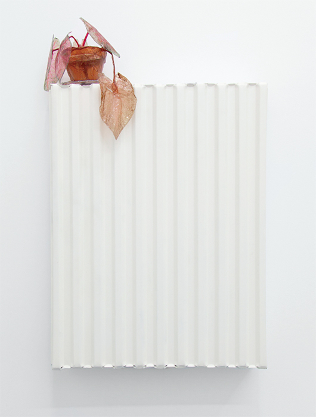 "Andrei Koschmieder, Untitled #03 (Plant on radiator series), 2012, spray paint, ink-jet dye, paper, metal, 43 × 31 × 4"". From the series ""Plants on Radiators,"" 2012–15."