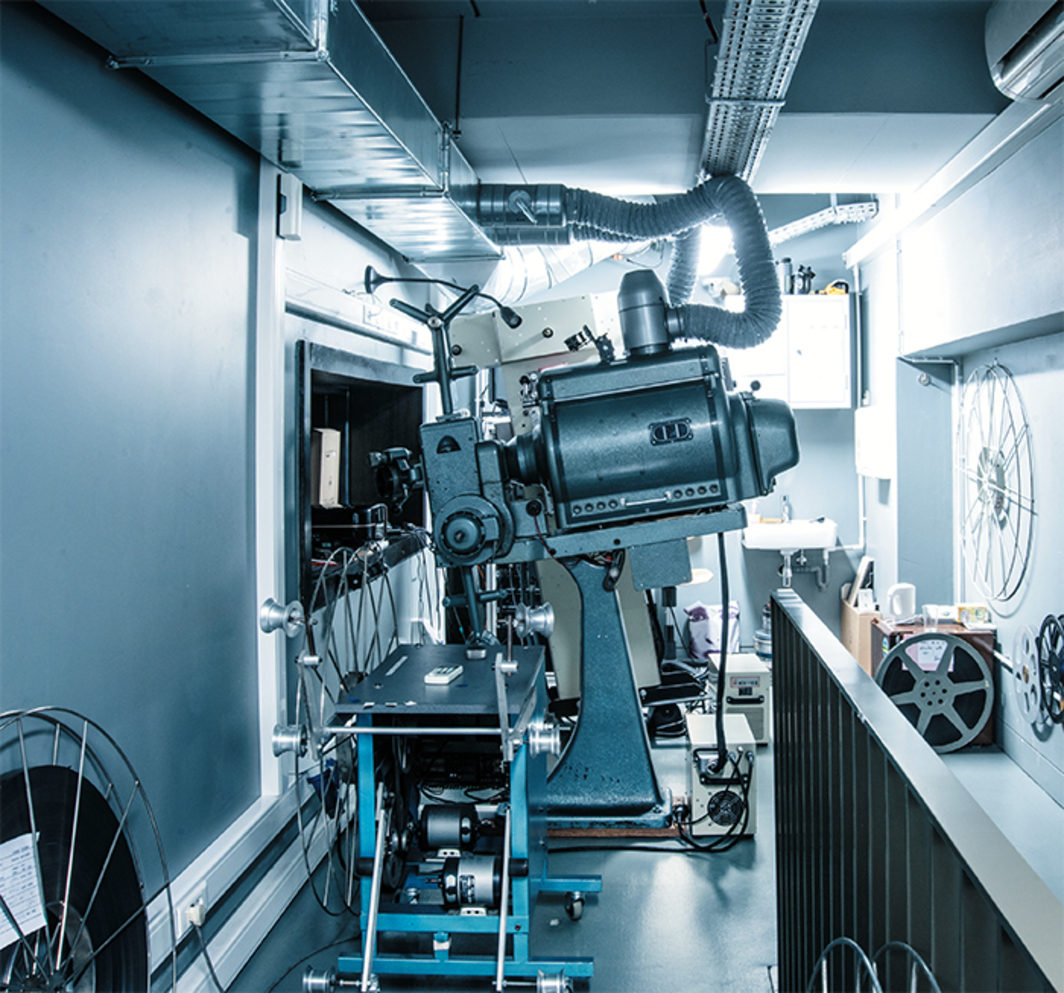 35-mm-film projection booth, Cinémathèque Royale de Belgique, Brussels, 2013. Photo: Xavier Harcq.