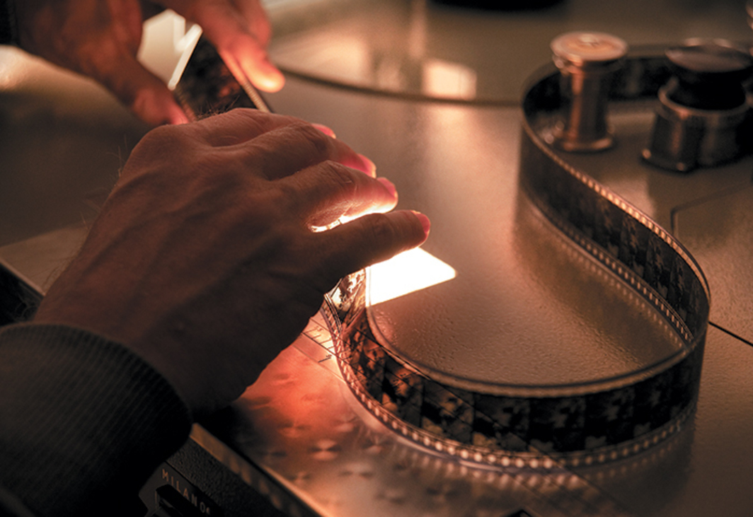 Inspection of a 35-mm film at the Cinémathèque Royale de Belgique, Brussels, 2010. Photo: Xavier Harcq.