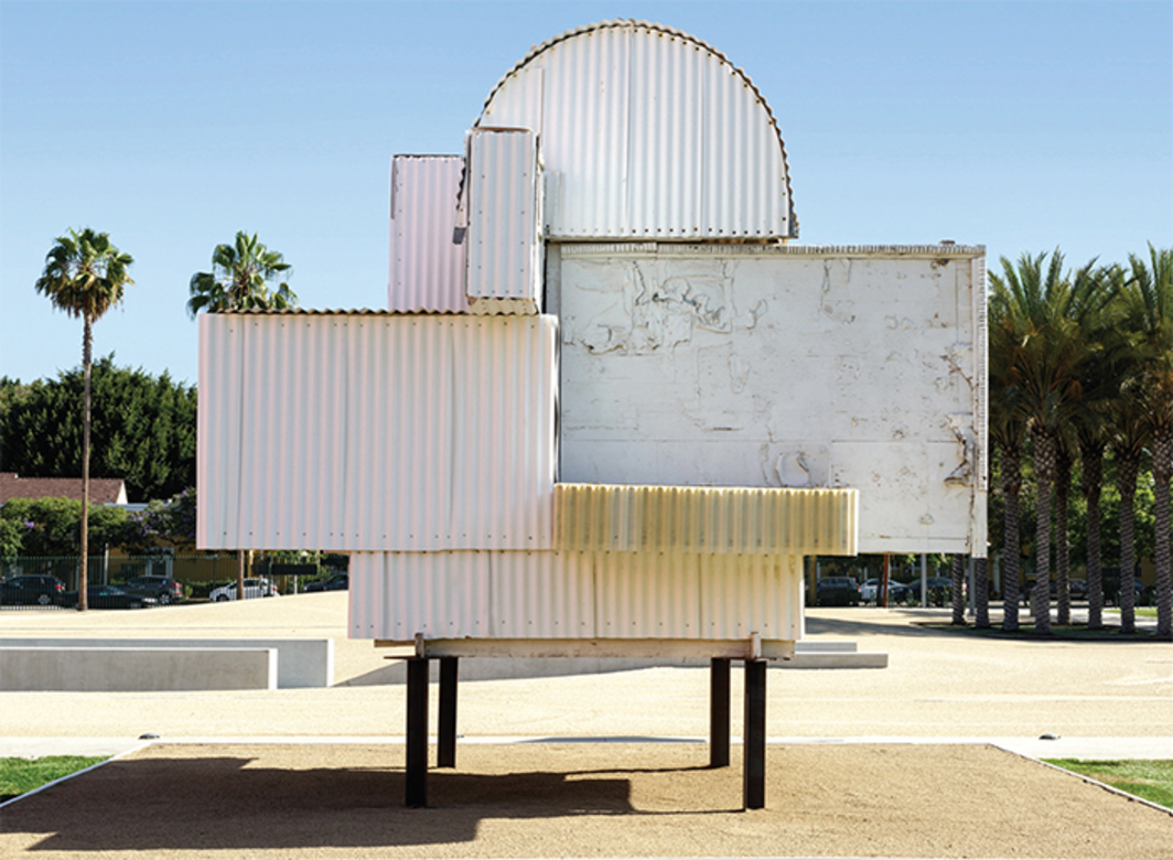 Noah Purifoy, Ode to Frank Gehry, 2000, mixed media. Installation view, Los Angeles County Museum of Art, 2015. © Noah Purifoy Foundation.
