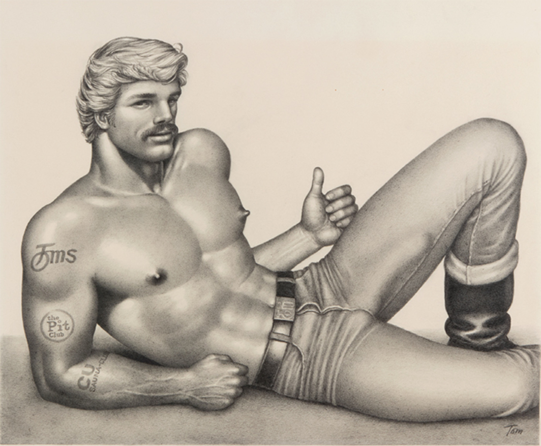 "Tom of Finland, Untitled, 1977, graphite on paper, 17 1/2 × 21 1/4"". © Tom of Finland Foundation."