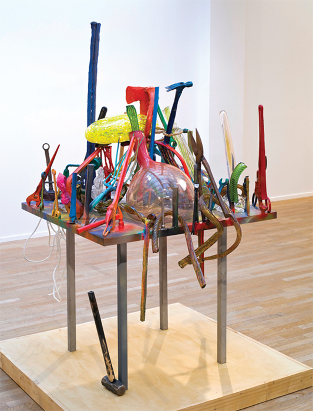 "Jim Dine, City of Glass #3, 2014, bronze, glass, stainless steel, found objects, lacquer, 77 × 45 × 56""."