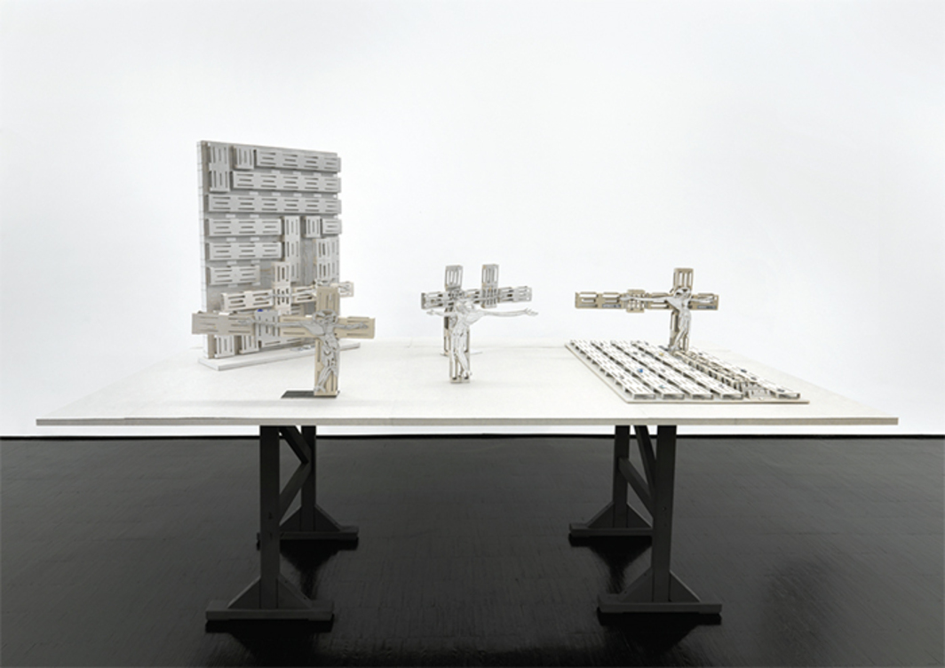 "View of ""Thomas Bayrle,"" 2015. From left: São Paulo/church, 2015; Donezk, 2015; Brescia, 2014; Mexico City, 2014; Gerano Pavesi/church, 2015."
