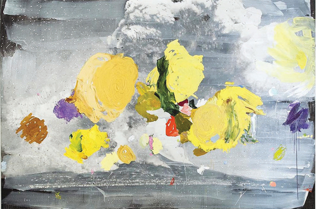 "Ida Tursic and Wilfried Mille, Vesuvio y Giallo di Napoli (Vesuvius and Naples Yellow), 2015, oil and silver on canvas, 8' 2 3/8"" × 12' 5 5/8"" × 2""."