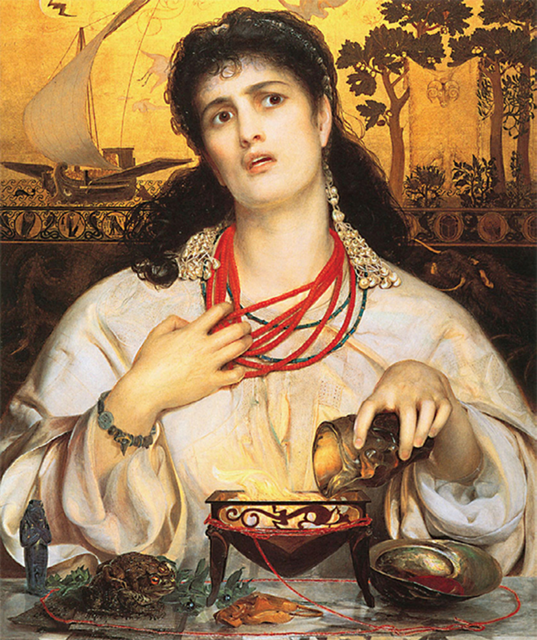"*Frederick Sandys, _Medea_, 1868*, gold and oil on panel, 24 × 18 1/8""."