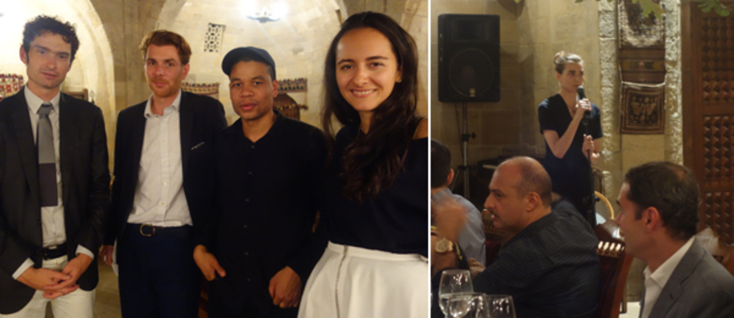 Left: Curator Michael Connor, David Zwirner associate director Rodolphe von Hofmannsthal, artist Oscar Murillo, and Yarat's curatorial director Suad Garayeva. Right: Artist Bunny Rogers singing at dinner.