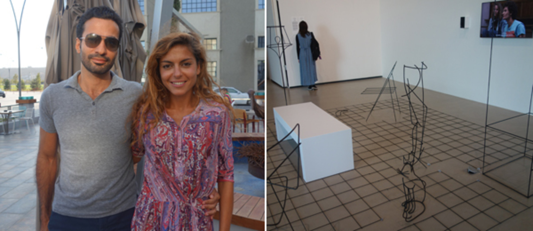 Left: Yarat founder and creative director Aida Mahmudova and her husband (left). Right: Neïl Beloufa installation.