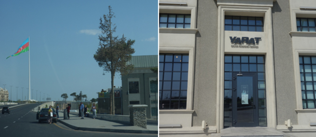 Left: National Flag Square in Baku. Right: Yarat Contemporary Art Space.