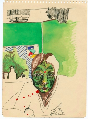"Barbara Hammer, Untitled 1, 1972, ink and watercolor on paper, 6 1/2 x 8 1/2""."