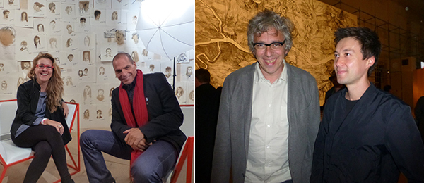 Left: Moscow Biennale curator Defne Ayas and Yanis Varoufakis. Right: Moscow Biennale curator Bart De Baere and Biennale architect Fedor Dubinnikov of MEL Studio. (All photos: Kate Sutton)
