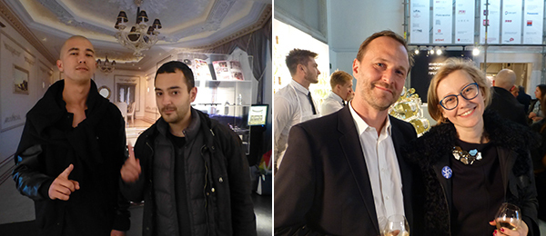 Left: Writer and culturologist Gleb Berg with curator Andrey Misiano at the Kavkaz Pavilion. Right: Artist Yves Maes and Ural Industrial Biennial commissar, NCCA director Alisa Prudnikova.