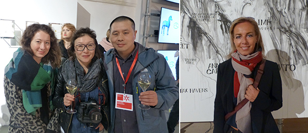 Left: Moscow Biennale team member Kate Savchenko with artists Almagul Menlibayeva and Li Mu. Right: Artist Danae Stratou.