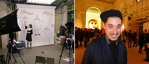 Left: Artist Alevtina Kakhidze filming her news segment. Right: Curator Andrey Parshikov.