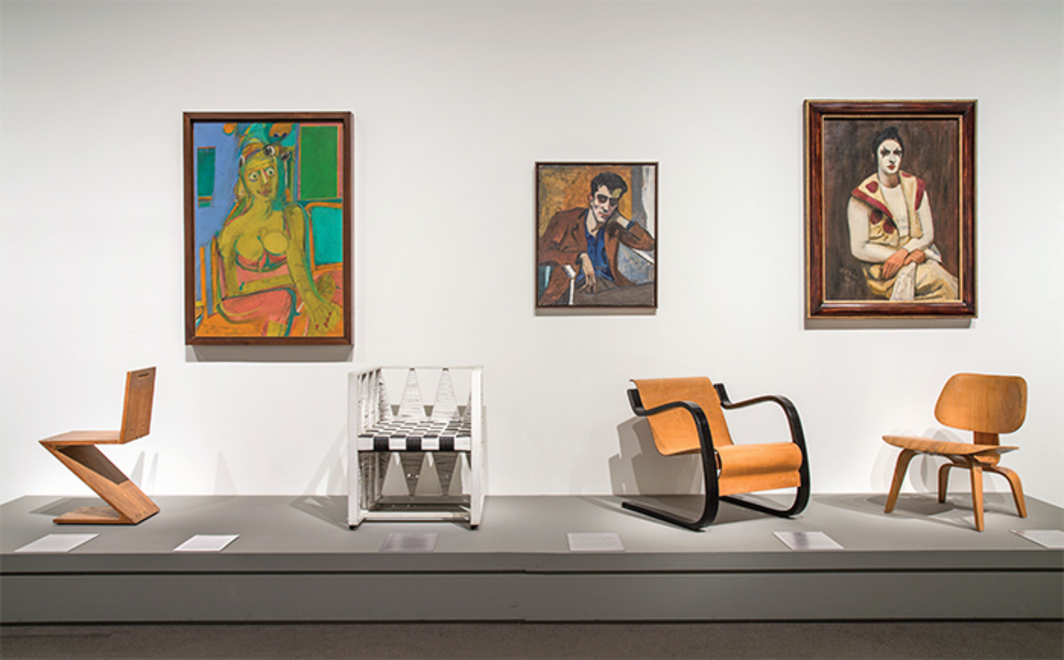 "View of ""Reimagining Modernism: 1900–1950,"" 2014–. On wall, from left: Willem de Kooning, Woman, 1944. © Artists Rights Society (ARS), New York.; Alice Neel, Portrait of Dick Bagley, 1946; Walt Kuhn, Clown with a Black Wig, 1930. On platform, from left: Gerrit Rietveld, Zig Zag Stoel, ca. 1937–40; Koloman Moser, armchair, 1903; Alvar Aalto, 31 armchair, 1931–32; Charles Eames, LCW side chair, ca. 1946. Photo: Chandra Glick."