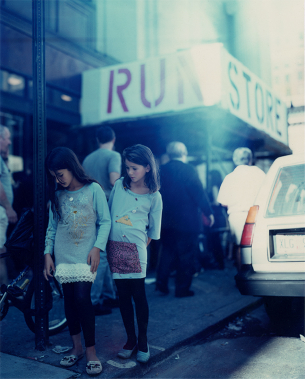 Bibi Borthwick and Mai Aurell model RUN 11 outside Susan Cianciolo's RUN Store, New York, 2001. Photo: Anette Aurell.
