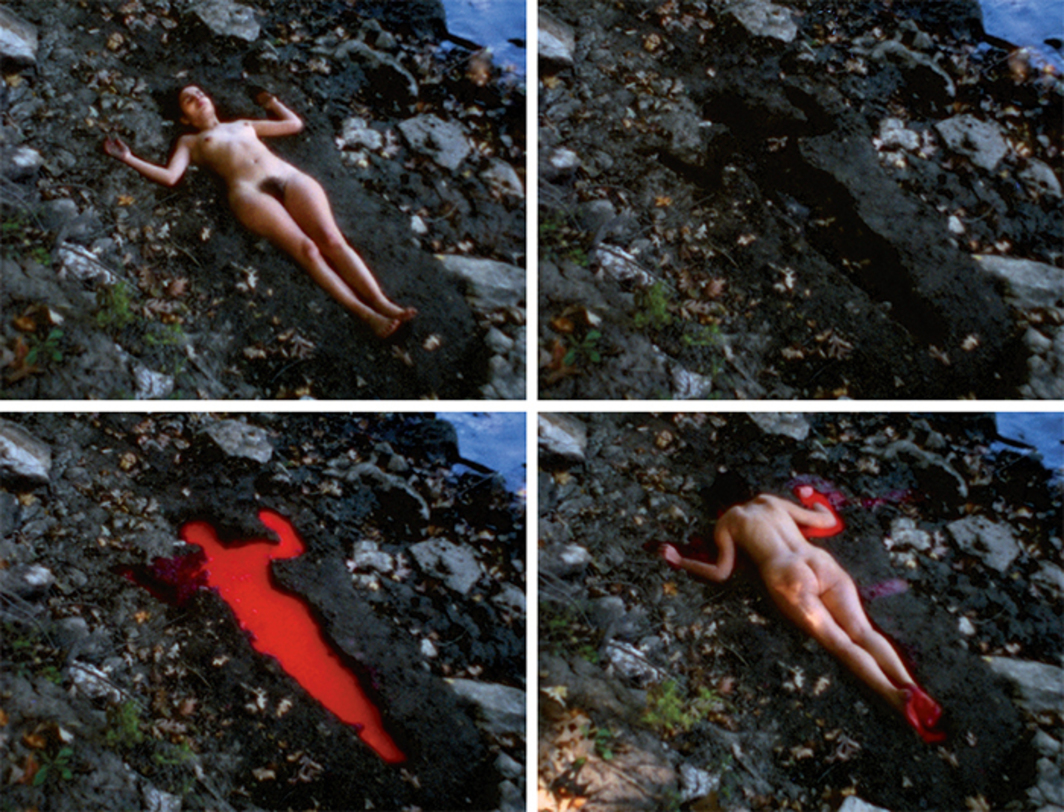 Four stills from Ana Mendieta's Silueta sangrienta (Bloody Silhouette), 1975, Super 8, color, silent, 1 minute 51 seconds. © The Estate of Ana Mendieta Collection, LLC.