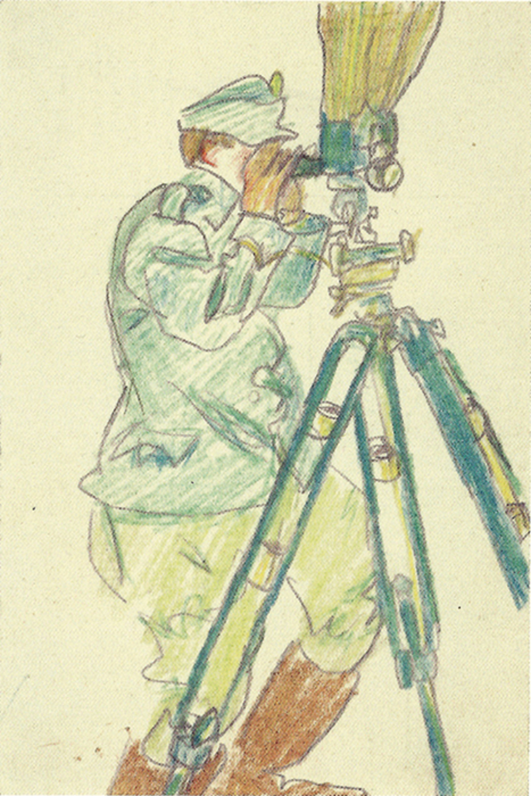 "László Moholy-Nagy, soldier looking through periscope, ca. 1915–19, colored pencil and pencil on paper, 5 3/8 × 3 1/2"".  © Artists Rights Society (ARS), New York/VG Bild-Kunst, Bonn."