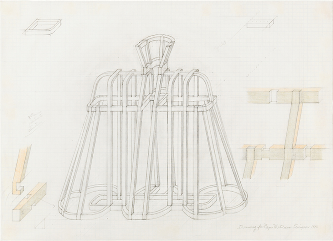 "Diane Simpson, Drawing for Cape (B), 1990, graphite and colored pencil on vellum graph paper, 16 × 22""."