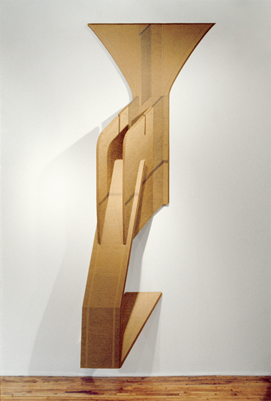 "Diane Simpson, Corrugated Drawing, 1978, corrugated board, graphite, 110 × 46 × 18"". From the series ""Corrugated Cardboard,"" 1978–80."