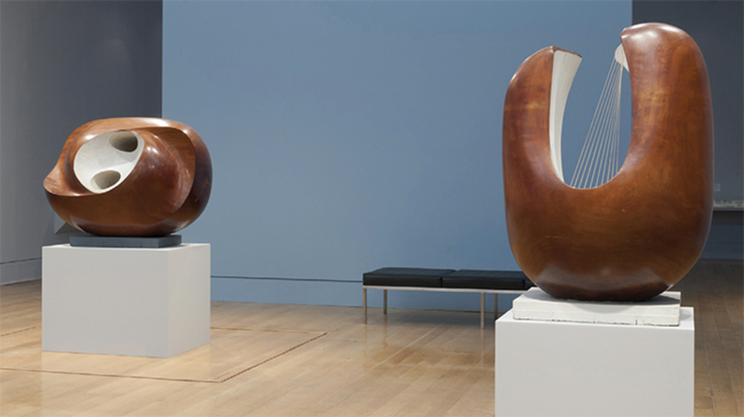 "View of ""Barbara Hepworth: Sculpture for a Modern World,"" 2015. From left: Oval Sculpture (Delos), 1955; Curved Form (Delphi), 1955. Photo: Olivia Hemingway."