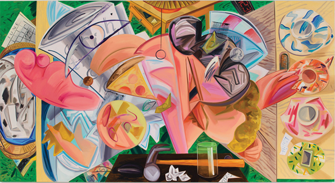 "Dana Schutz, Shaking Out the Bed, 2015, oil on canvas, 9' 6"" × 17' 9 3/4""."