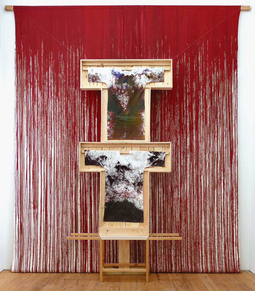 "Hermann Nitsch, Schüttbild (Splatter Painting), 2011, acrylic on canvas and cotton shirts, wood, 17' 8 1/2"" × 13' 1 1/2"" × 3'."