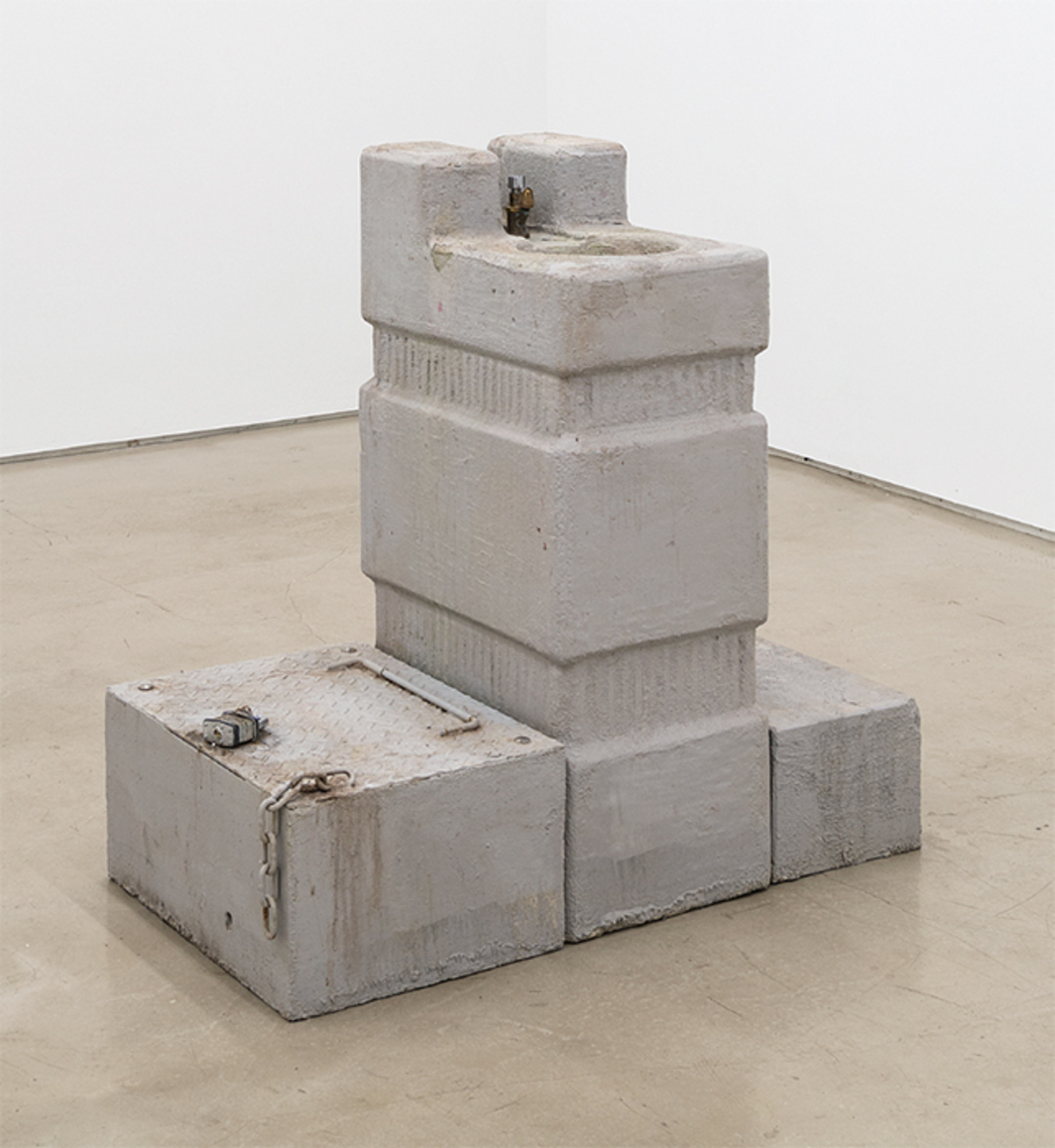 "Fiona Connor, On What Remains (fountain), 2015, concrete, expanded polystyrene foam, antique brass hardware, plumbing supplies, steel, plywood, paint, coatings, car battery, pump, water, 36 × 24 × 36""."