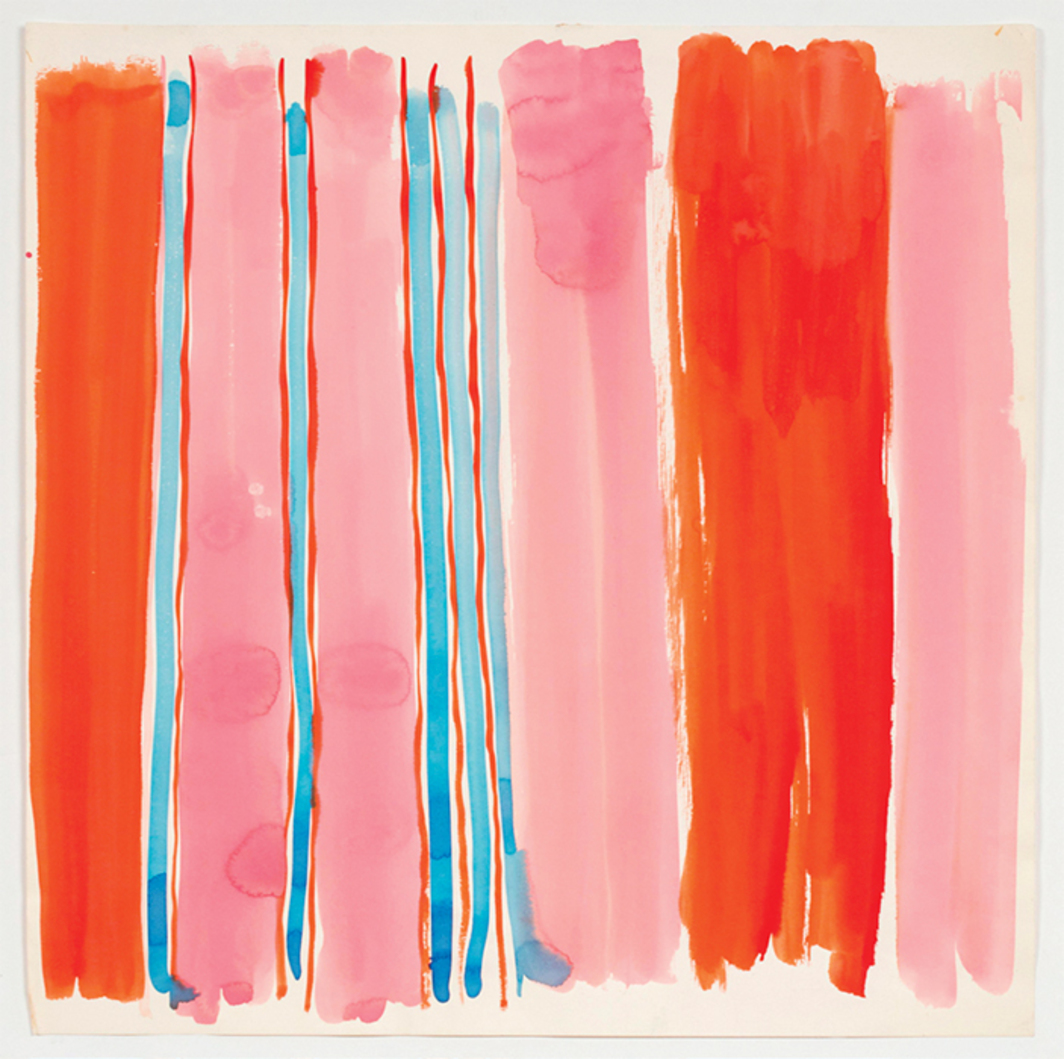 "Vera Neumann, Occasional Stripe, n.d., watercolor on paper, 24 × 24"". From the series ""Abstracts,"" ca. 1960–90."