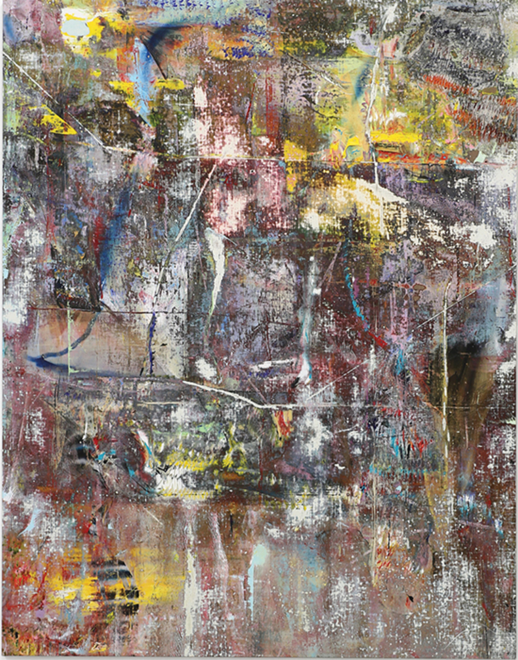 "Liam Everett, Untitled (Limnos), 2015, acrylic, enamel, alcohol, and salt on oil-primed linen, 77 × 60"". From ""Nacht und Traüme."""