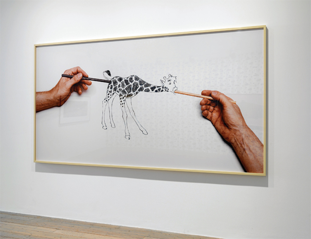 "Larry Johnson, Untitled (Raven Row Giraffe), 2015, C-print, wood, 5' 5"" × 10' 8 3/4"" × 2 3/4""."