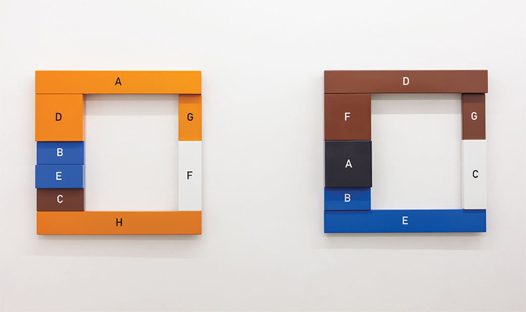 "View of ""Thomas Locher,"" 2015. From left: A–H, 2002/2015; A–G, 2002/2015."