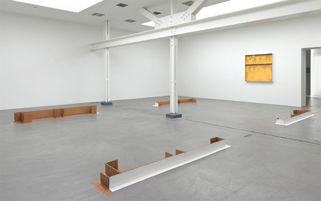 "View of ""Carlos Bunga,"" 2015. On floor: Construcción Constructiva (Constructive Construction), 2015. On wall: Construcción Pictórica #16 (Pictorial Construction #16), 2015. Photo: Stefan Altenburger."