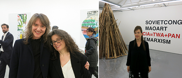 Left: Chisenhale director Polly Staple and Frieze cofounder Amanda Sharp. Right: Dealer Maureen Paley.