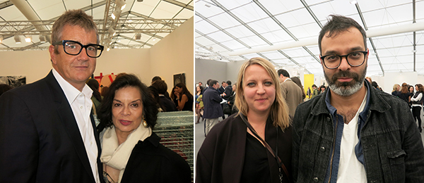 Left: Dealer Jay Jopling and Bianca Jagger. Right: Frieze Projects curator Nicola Lees and artist Asad Raza.