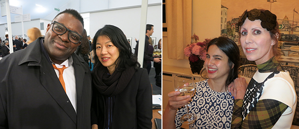Left: Artist Isaac Julien and Whitechapel curator Lydia Yee. Right: Artist Sol Calero and Studio Voltaire patron Valeria Napoleone.