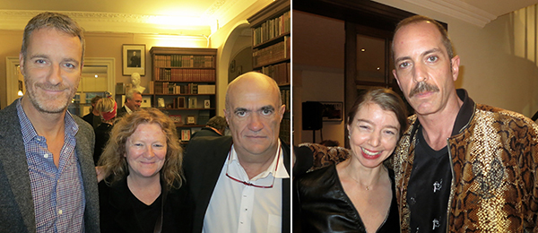 Left: Dealer Lorcan O'Neill with artists Rachel Whiteread and writer Colm Tóibín. Right: Artists Emily Sunblad and Matt Sweeney.