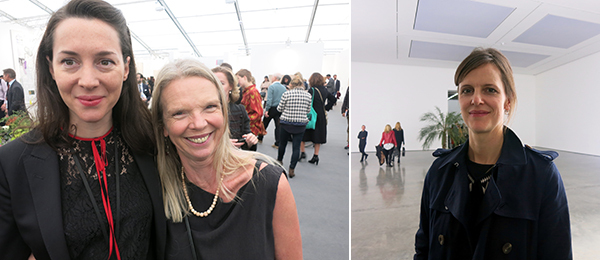 Left: Frieze Art Fair director Victoria Siddal and collector Vanessa Branson. Right: Tate Modern curator Catherine Wood.