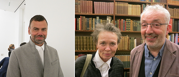 Left: Artist Ingar Dragset. Right: Artist Laurie Anderson and Michael Morris.
