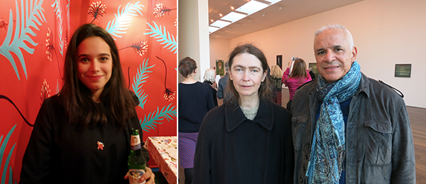 Left: Collector Tiffany Zabludowicz. Right: Artist Celia Paul with collector César Reyes.