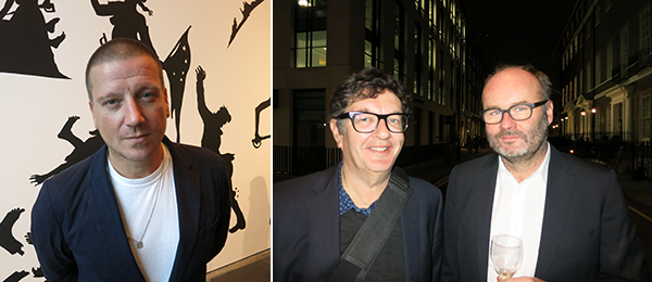 Left: Artists Space director Stefan Kalmár. Right: Artists Mark Wallinger and Thomas Demand.