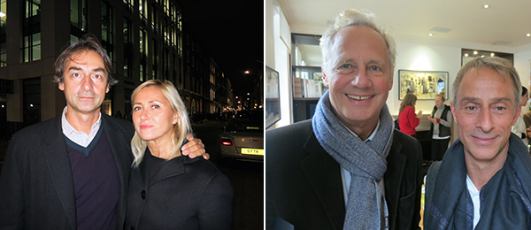 Left: Dealer Cristian Alexa and MoMA curator Roxana Marcoci. Right: Collectors Peter Handschin and Martin Hatebur.