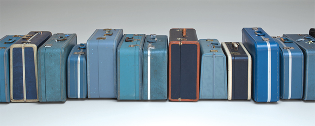 *Zoe Leonard, _1961_, 2002–*, blue suitcases, dimensions variable. Photo: Bill Jacobson.