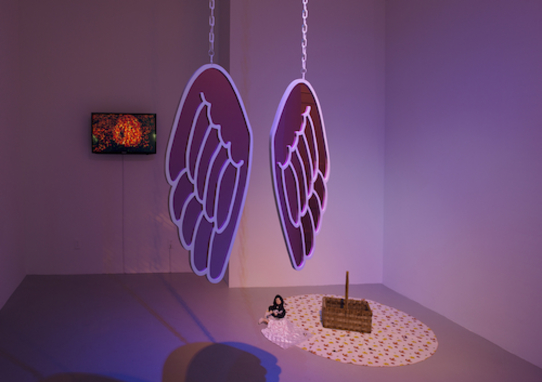 "View of ""Jacky Connolly and Flannery Silva,"" 2015. From left: Jacky Connolly, Hudson Valley Rock Chick, 2015; Flannery Silva, Angels' Den, 2015; Chloé Doll, 2015; Valley Basket, 2015."