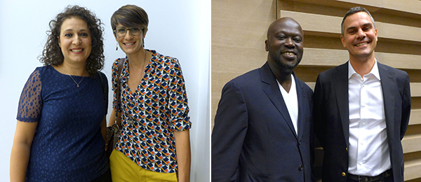 Left: Sursock Museum director Zeina Arida with Yasmine Chemali, head of collections and archives. Right: Architect David Adjaye with curator Massimiliano Gioni. (All photos: Kaelen Wilson-Goldie)
